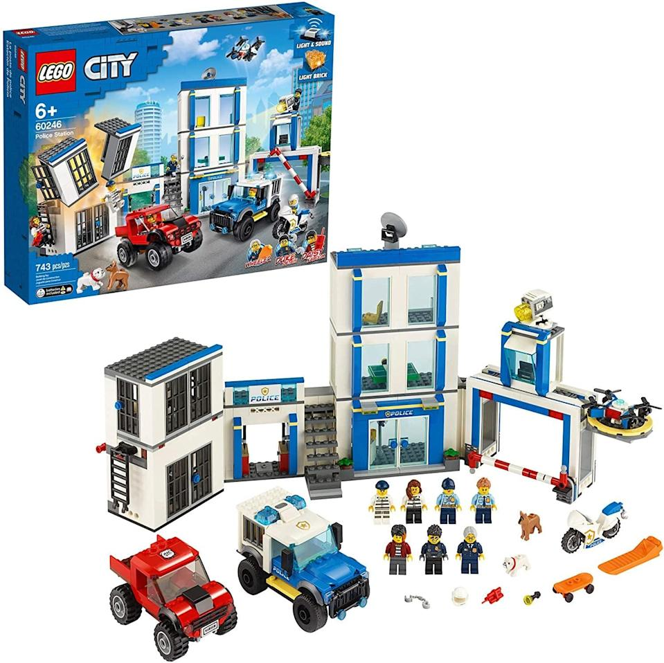 "<p>The <a href=""https://www.popsugar.com/buy/Lego-City-Police-Station-551161?p_name=Lego%20City%20Police%20Station&retailer=amazon.com&pid=551161&price=100&evar1=moms%3Aus&evar9=47243673&evar98=https%3A%2F%2Fwww.popsugar.com%2Ffamily%2Fphoto-gallery%2F47243673%2Fimage%2F47243744%2FLego-City-Police-Station&list1=toys%2Ctoy%20fair%2Ckid%20shopping%2Ckids%20toys&prop13=api&pdata=1"" class=""link rapid-noclick-resp"" rel=""nofollow noopener"" target=""_blank"" data-ylk=""slk:Lego City Police Station"">Lego City Police Station</a> ($100) has 743 pieces and is best suited for kids ages 6 and up.</p>"