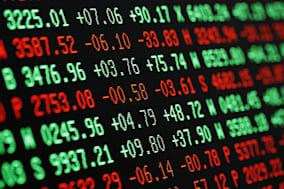 Stock Market Financial Trading Screen in Green and Red