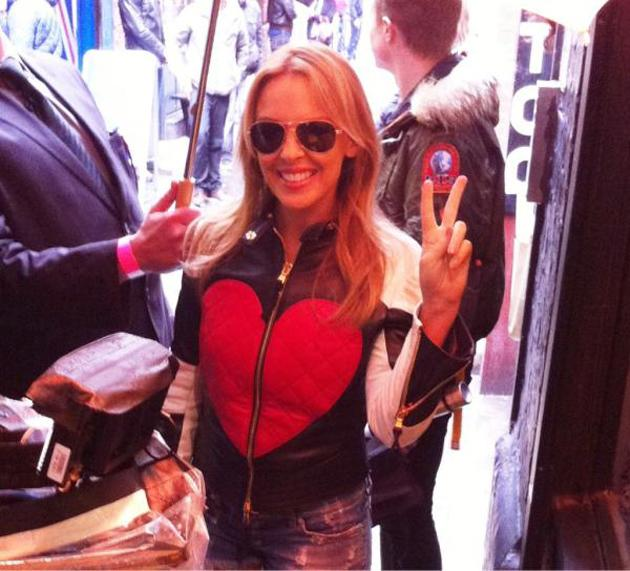 """Celebrity photos: Kylie Minogue has just finished up her Anti Tour and is spending time hanging out in London. She tweeted this image of herself in the capital, along with the caption: """"I love Soho""""."""