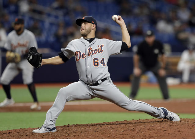 Detroit Tigers relief pitcher Matt Hall delivers to the Tampa Bay Rays during the 13th inning of a baseball game Saturday, Aug. 17, 2019, in St. Petersburg, Fla. (AP Photo/Chris O'Meara)
