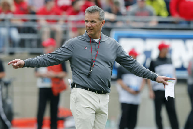 Ohio State head coach Urban Meyer watches his team's NCAA college spring football game Saturday, April 14, 2018, in Columbus, Ohio. (AP Photo/Jay LaPrete)
