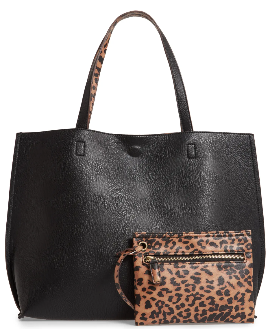 Street Level Reversible Faux Leather Tote & Wristlet in Black/Brown Leopard