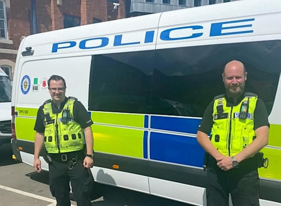 PCs Alfie Ratcliffe (left) and Tom Dale (right) rescued the man as he struggled to breathe after getting tangled up in a skipping rope tied to a tree. (SWNS)
