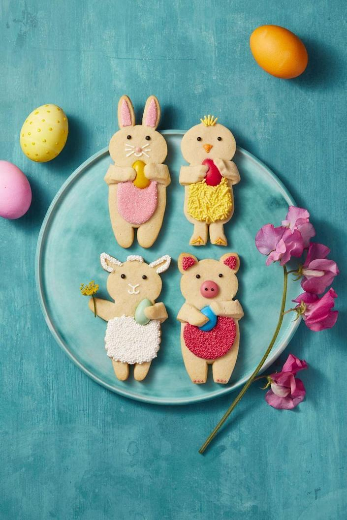 """<p>Looks like you'll have some extra company at your Easter celebration this year with these bunny, chick, lamb, and pig cookies. </p><p><a href=""""https://www.goodhousekeeping.com/food-recipes/a41691/vanilla-sugar-dough-recipe/"""" rel=""""nofollow noopener"""" target=""""_blank"""" data-ylk=""""slk:Get the recipe for Easter Vanilla Sugar Cookies »"""" class=""""link rapid-noclick-resp""""><em>Get the recipe for Easter Vanilla Sugar Cookies »</em></a><br></p>"""