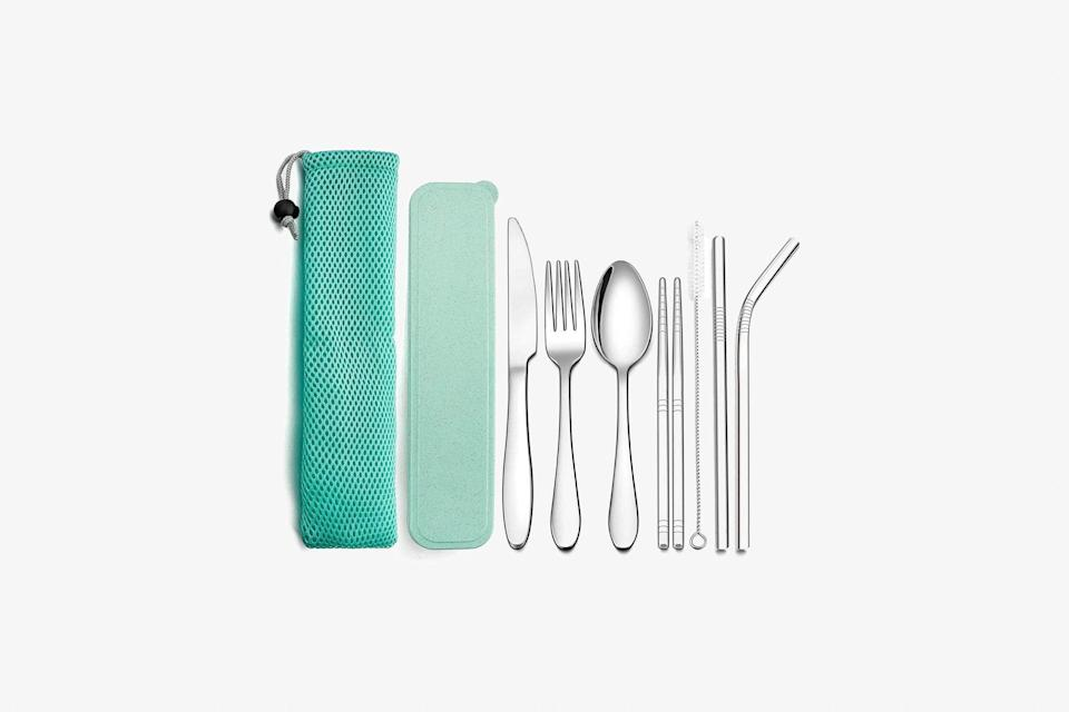 """As sustainability in travel becomes ever more pressing, people are going beyond reusable straws and looking to other <a href=""""https://www.cntraveler.com/story/travel-companies-and-places-phasing-out-single-use-plastics?mbid=synd_yahoo_rss"""" rel=""""nofollow noopener"""" target=""""_blank"""" data-ylk=""""slk:single-use plastics"""" class=""""link rapid-noclick-resp"""">single-use plastics</a> like utensils. Set them up with this kit that has it all—two styles of reusable straw (with a cleaning pipe), a fork, knife, spoon, and chopsticks. The tools are made of stainless steel, and their pouch is flat and soft, making them easy to carry. $11, Amazon. <a href=""""https://www.amazon.com/LIANYU-Utensils-Silverware-Stainless-Chopsticks/dp/B07XKSB9RB/"""" rel=""""nofollow noopener"""" target=""""_blank"""" data-ylk=""""slk:Get it now!"""" class=""""link rapid-noclick-resp"""">Get it now!</a>"""