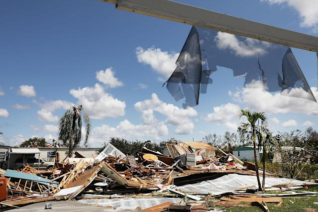 <p>A destroyed home stands in a heavily damaged rural community in rural Naples two days after Hurricane Irma swept through the area on Sept. 12, 2017 in Naples, Florida. (Photo: Spencer Platt/Getty Images) </p>