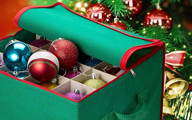Handy Laundry Christmas Ornament Storage Box. (Photo: Amazon)