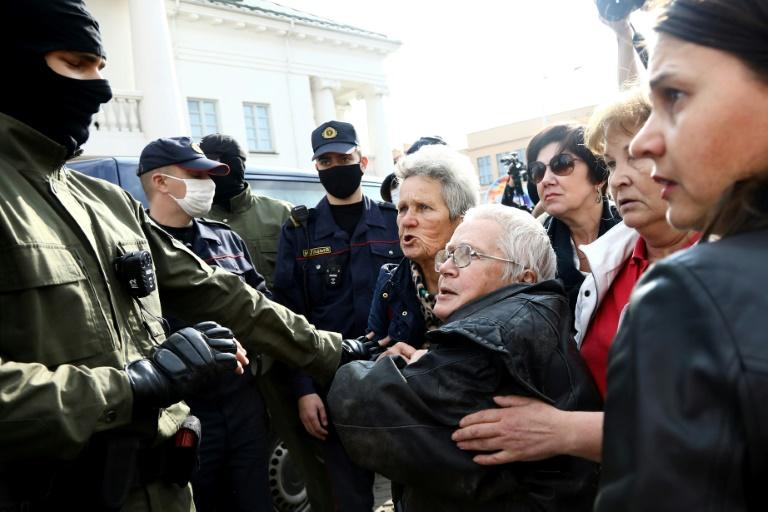 Belarus police detain women protesters
