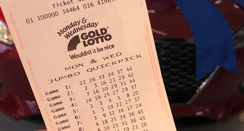 Photo shows a Monday and Wednesday Gold Lotto ticket.