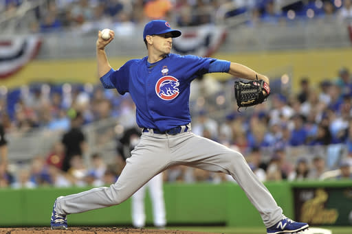 Chicago Cubs' pitcher Kyle Hendricks throws in the first inning of a baseball game against the Miami Marlins in Miami, Friday, March 30, 2018. (AP Photo/Gaston De Cardenas) (AP Photo/Gaston De Cardenas)