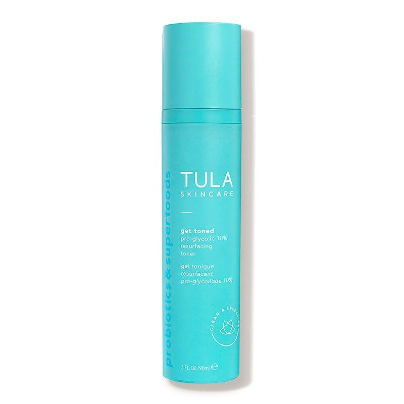 """<p><strong>TULA Skincare</strong></p><p>dermstore.com</p><p><strong>$34.00</strong></p><p><a href=""""https://go.redirectingat.com?id=74968X1596630&url=https%3A%2F%2Fwww.dermstore.com%2Fproduct_Get%2BToned%2BProGlycolic%2B10%2BResurfacing%2BToner_71933.htm&sref=https%3A%2F%2Fwww.marieclaire.com%2Fbeauty%2Fg35567295%2Fglycolic-acid-toners%2F"""" rel=""""nofollow noopener"""" target=""""_blank"""" data-ylk=""""slk:SHOP IT"""" class=""""link rapid-noclick-resp"""">SHOP IT</a></p><p> This formula's probiotic and glycolic blend resurfaces and balances the skin's surface, while hyaluronic acid hydrates the skin so it stays bouncy and plump. And potent botanicals provide extra benefits: turmeric reduces inflammation, while blueberry extract fights free radical damage to prevent signs of aging. </p>"""