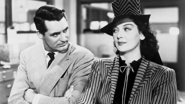 <p> Boorish-yet-somehow-utterly-charming editor Walter Burns (Cary Grant) chucks a spanner in the works of his ex-wife Hildy Johnson's (Rosalind Russell) imminent second marriage to Bruce Baldwin (Ralph Bellamy). Tempting the former newshound reporter with a murder story, she's helpless to say no, especially when there's a promising scoop at stake. </p> <p> Grant's banter with Russell at the table, while endlessly quizzing her new fiance, is hysterical. His fast-paced rap-dialogue and Russell's slapstick make this an affair to remember. </p>