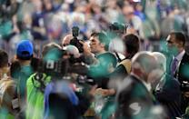 <p>Quarterback Tom Brady leaves the field after losing Super Bowl LII to the Philadelphia Eagles at US Bank Stadium in Minneapolis, Minnesota, on February 4, 2018. (TIMOTHY A. CLARY/AFP/Getty Images) </p>
