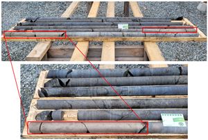 Alexo North massive sulphide mineralization from drill hole AN-21-10.