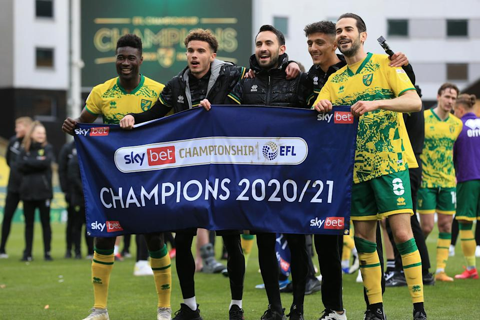 <p>Norwich celebrate winning the Championship title at Carrow Road</p> (Getty Images)