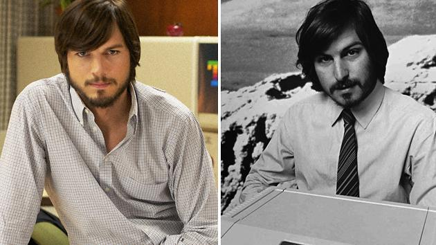 Ashton Kutcher in 'Jobs,' and the real Steve Jobs