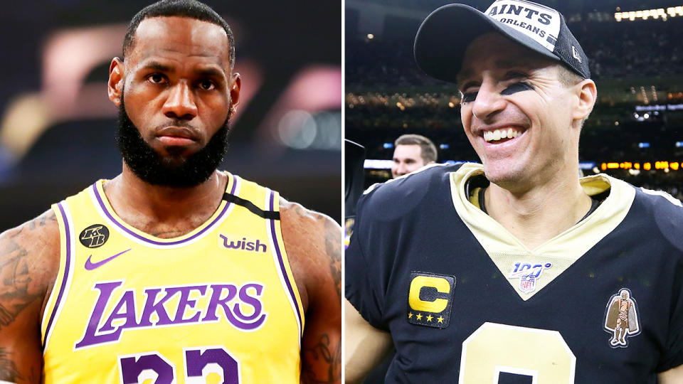 LeBron James and Drew Brees, pictured here in the NBA and NFL.