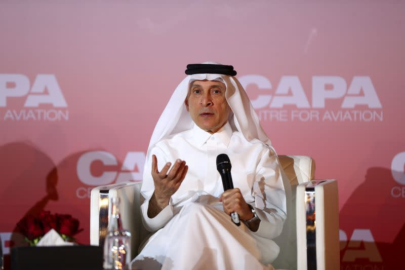 FILE PHOTO: Qatar Airway's Chief Executive Officer, Akbar Al Baker speaks at the opening session of a CAPA aviation summit, in Doha