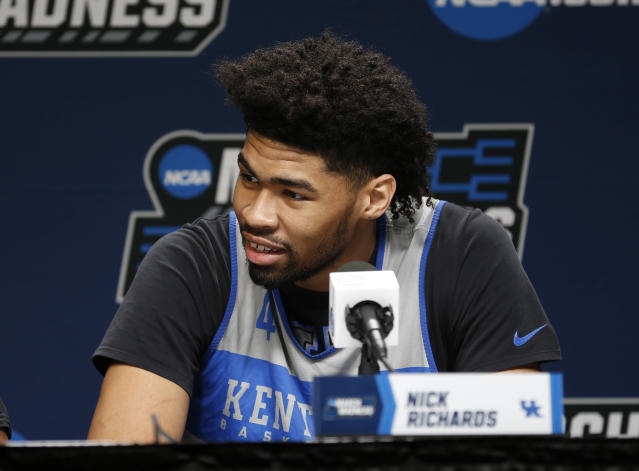 Kentucky's Nick Richards answers questions during a news conference at the NCAA mens college basketball tournament in Jacksonville, Fla., Friday, March 22, 2019. Kentucky faces Wofford in the second round on Saturday. (AP Photo/Stephen B. Morton)