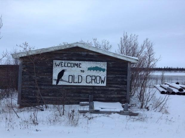 Sign in Old Crow, Yukon. The community of approximately 260 people is the only consistently-occupied location on Vuntut Gwitchin settlement land.  (Leonard Linklater/CBC - image credit)