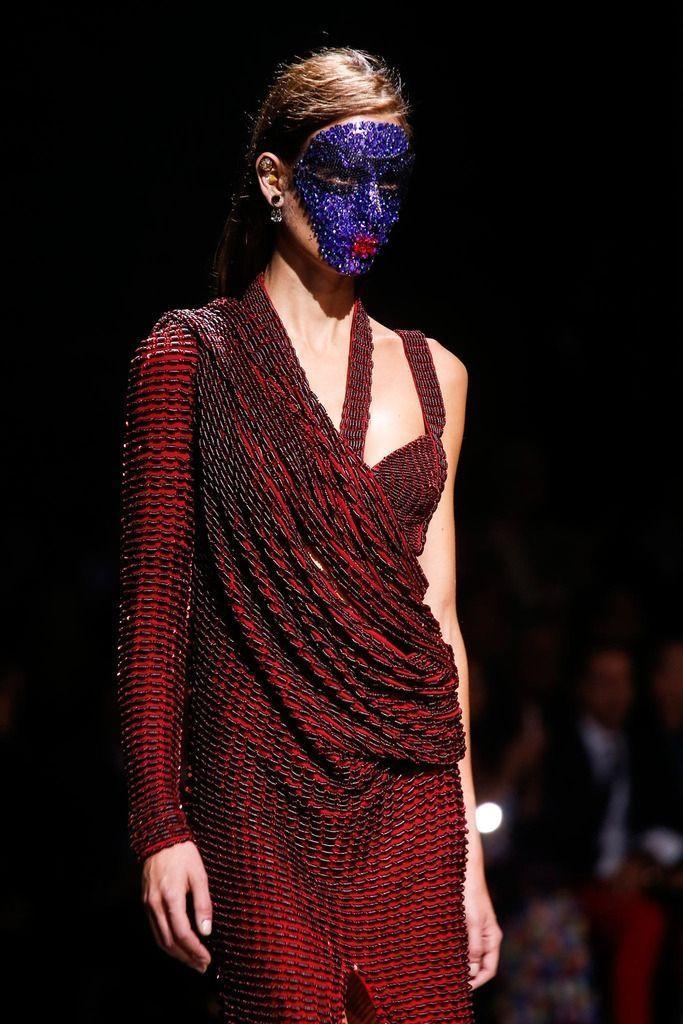 <p>Pat McGrath created epic crystal face masks (that took 12 hours to apply) for the label's Spring 2014 show.</p>