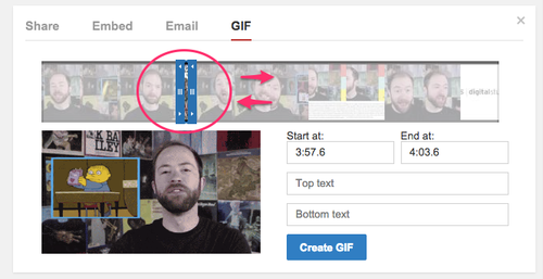 Creating a GIF in YouTube
