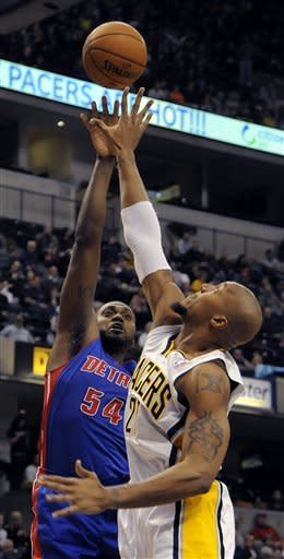 Detroit Pistons forward Jason Maxiell (54) shots over Indiana Pacers forward David West in the first half of an NBA basketball game in Indianapolis, Friday, Feb. 22, 2013. (AP Photo/Alan Petersime)