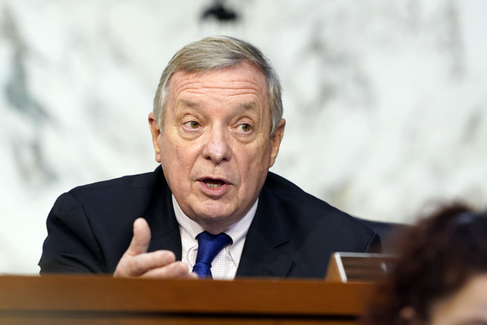 Sen. Dick Durbin, D-Ill., speaks before the Senate Judiciary Committee on the fourth days of hearing on Supreme Court nominee Amy Coney Barrett, Thursday, Oct. 15, 2020, on Capitol Hill in Washington. (AP Photo/Susan Walsh, Pool)