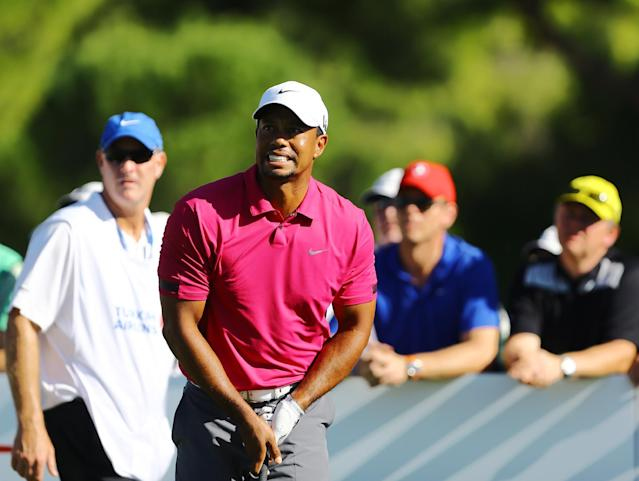 Tiger Woods of the United States tees off from the 10th hole during the third round of the Turkish Open golf tournament at the Montgomerie Maxx Royal Course in Antalya, Turkey, Saturday, Nov. 9, 2013. (AP Photo/Kaan Soyturk)