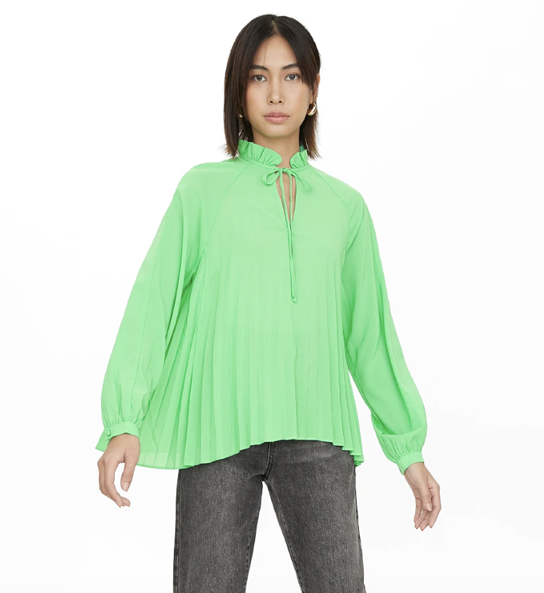 Pomelo Pleated Neck Tie Blouse, Green. PHOTO: Pomelo