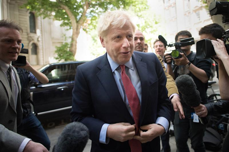 Former Foreign Secretary Boris Johnson arrives for the Conservative Councillors' Association Group Leaders' Day at Local Government House in London. (Photo by Stefan Rousseau/PA Images via Getty Images)
