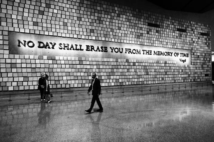 A quote from Virgil on a wall of the National September 11 Memorial Museum in New York.