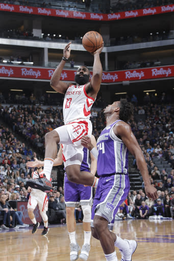 SACRAMENTO, CA -FEBRUARY 6: James Harden #13 of the Houston Rockets shoots the ball against the Sacramento Kings on February 6, 2018 at Golden 1 Center in Sacramento, California. (Photo by Rocky Widner/NBAE via Getty Images)