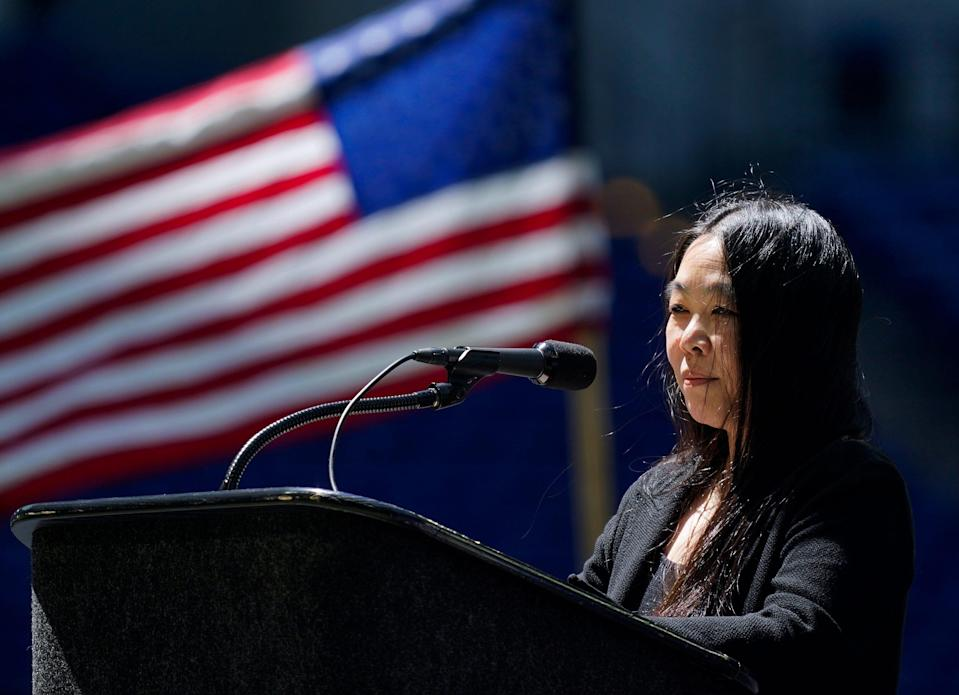Erika Moritsugu, Asian American and Pacific Islander (AAPI) senior liaison, reads a statement from President Joe Biden to members of the Sikh community on May 1 at Lucas Oil Stadium in downtown Indianapolis.