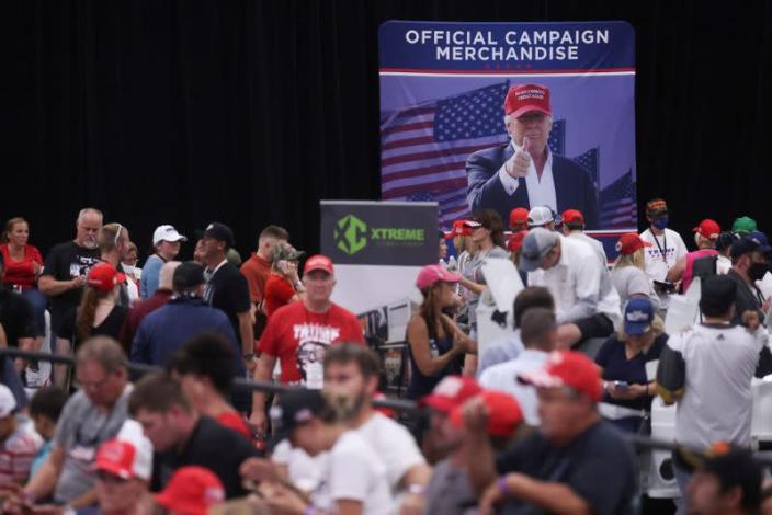 U.S. President Trump rallies with supporters at a campaign event in Henderson, Nevada