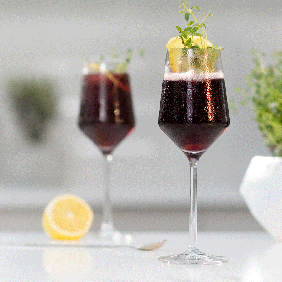"""<p>You've heard of a white wine spritzer, but what about a red wine version? </p><p>Get the <a href=""""https://www.delish.com/uk/cocktails-drinks/a33510326/red-wine-spritz/"""" rel=""""nofollow noopener"""" target=""""_blank"""" data-ylk=""""slk:Red Wine Spritz"""" class=""""link rapid-noclick-resp"""">Red Wine Spritz</a> recipe.</p>"""