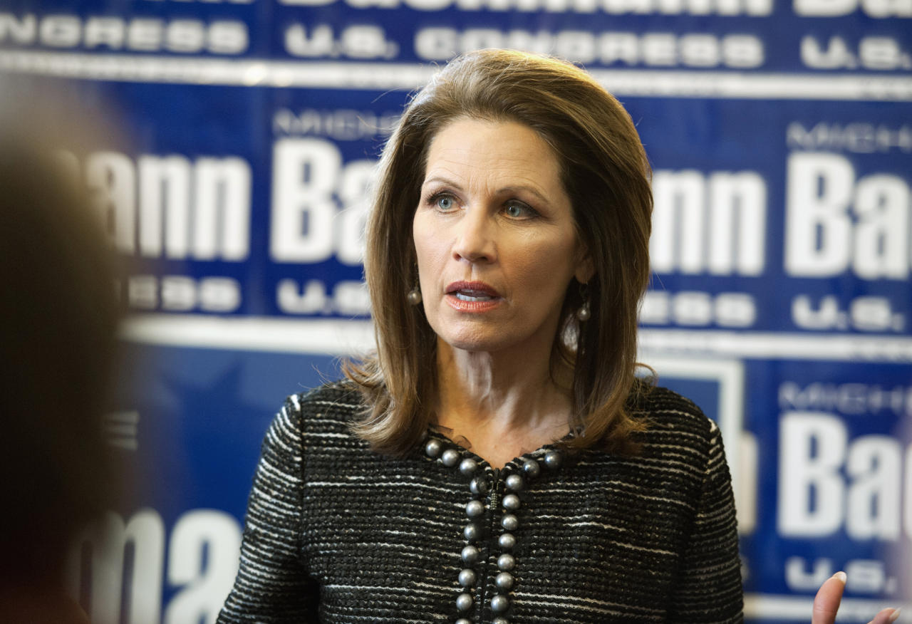 FILE - In this Feb. 21, 2012, file photo, Congresswoman Michele Bachmann gives an interview in Minnesota. Bachmann, a one-time Republican presidential contender and former U.S. representative, says she's considering a run for Sen. Al Franken's seat. Franken resigned Tuesday, Jan. 2, 2018, after a cloud of sexual misconduct allegations starting in November. (Glenn Stubbe/Star Tribune via AP, File)