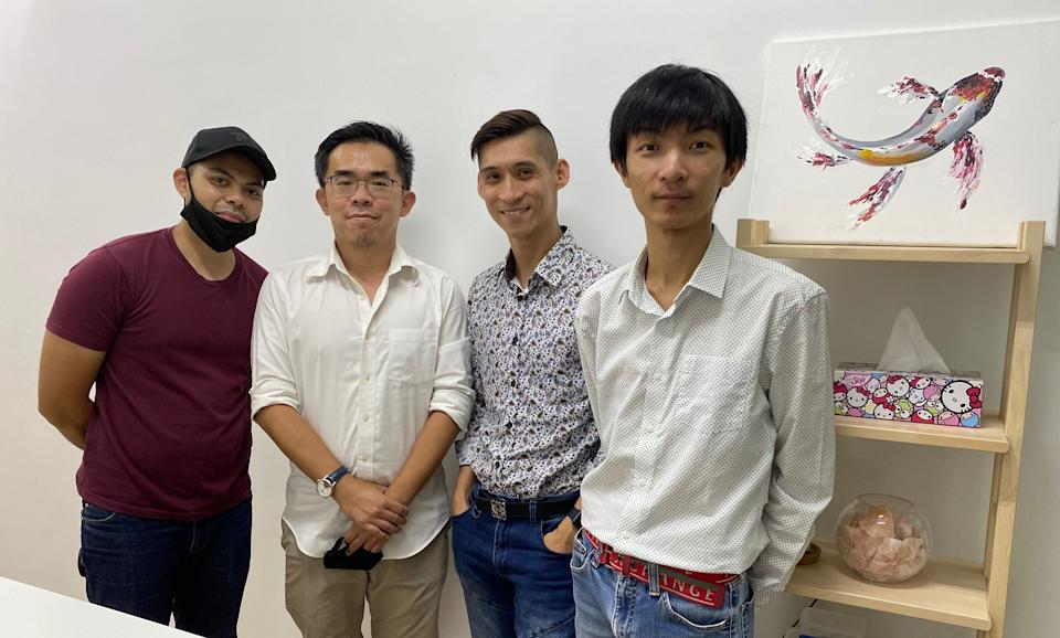 (From left) Syed Hafizudin Chishty, James Chan, Dennis Chua and Jerome Teo have set up a car consignment company amid the COVID-19 pandemic. (PHOTO: Chia Han Keong/Yahoo News Singapore)