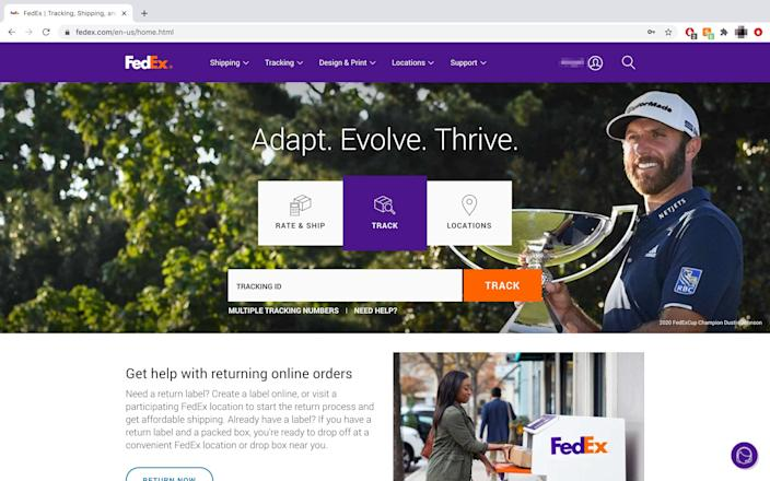 "FedEx has various tabs for tracking, rates and shipping and more on its homepage. <p class=""copyright"">Abigail Abesamis Demarest/Business Insider</p>"