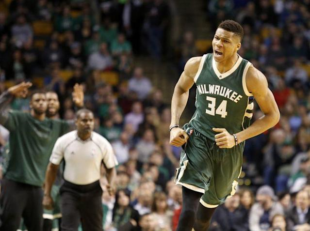 "<a class=""link rapid-noclick-resp"" href=""/nba/players/5185/"" data-ylk=""slk:Giannis Antetokounmpo"">Giannis Antetokounmpo</a> has a lot to celebrate in Milwaukee. (AP)"
