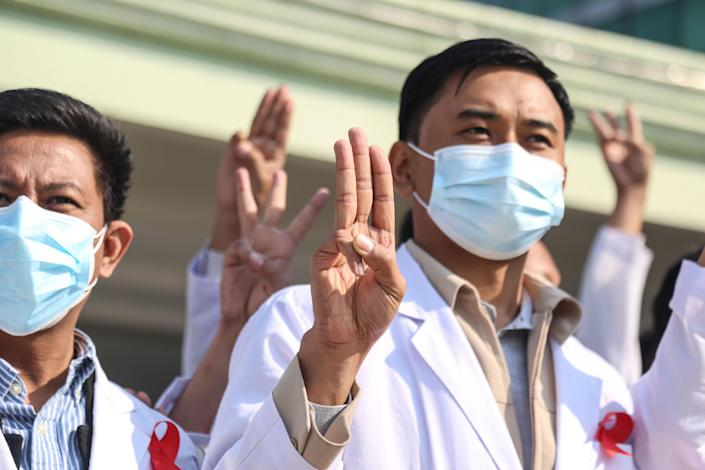 Doctors in Myanmar showing their discontent with the coup, 3 February 2021