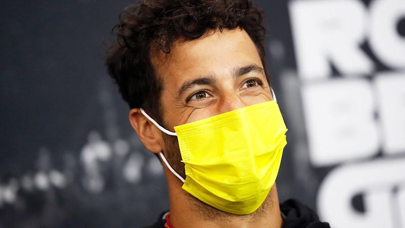 Pictured here, Daniel Ricciardo wears a face mask at the Belgian GP.