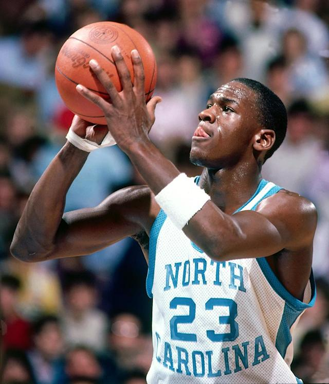 Michael Jordan #23 of the University of North Carolina during a game in February, 1984. (Photo by Jerry Wachter/Sports Imagery/Getty Images)