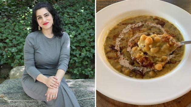 Habiba Syed and a bowl of oogra, a warming lentil soup. (Photo: Courtesy of Habiba Syed)