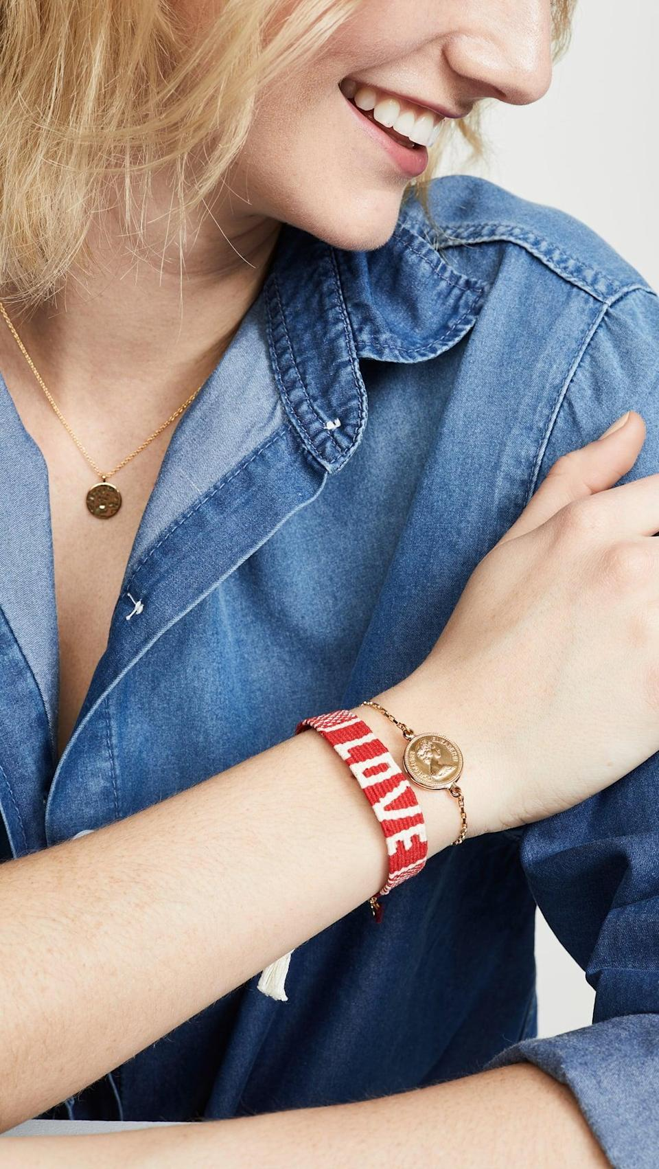 <p>Wear this <span>Maison Irem Mantra Woven Bracelet</span> ($35) everyday to remind yourself that you're loved.</p>