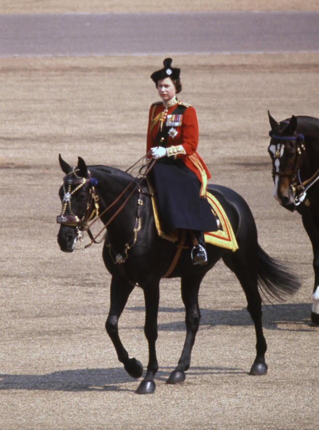 Queen Elizabeth II rides Burmese in Trooping the Colour in 1969. (PA Images)