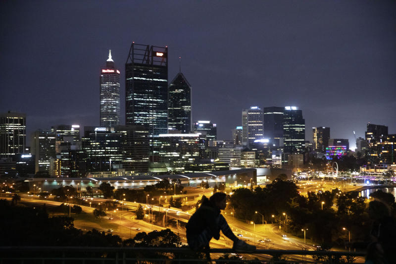 The city skyline is seen from the State War Memorial in Perth, Australia.