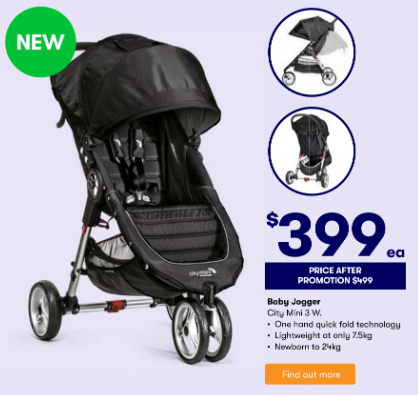 Save $100 off Baby Jogger's 'City Mini 3W' stroller. Photo: Big W (supplied).