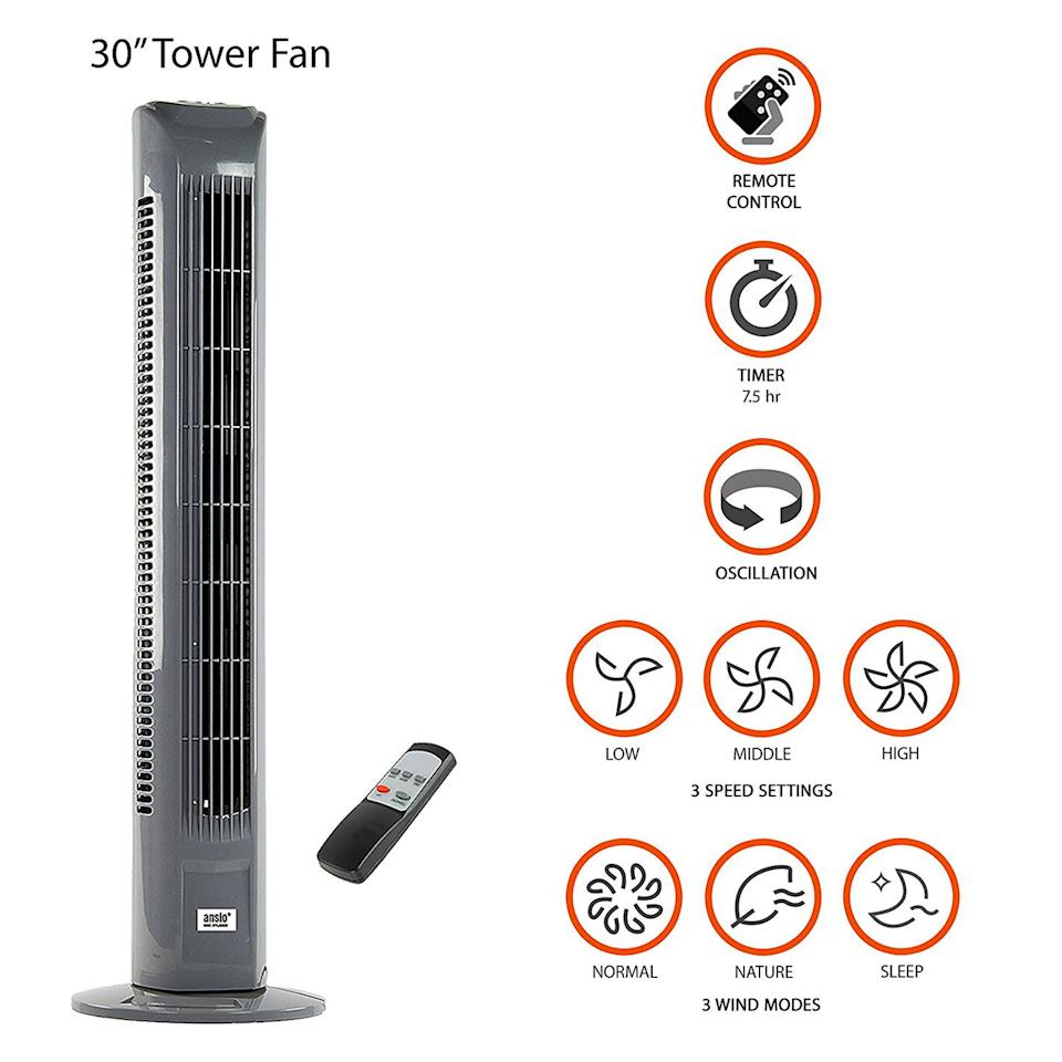 """<p>Comes with a remote control where you can choose from 3 speed settings and 3 wind modes.</p><p><strong><em>Light Weight Oscillating Slim Tower Fan by ANSIO, £44.99, Amazon</em></strong></p><p><a rel=""""nofollow"""" href=""""https://www.amazon.co.uk/ANSIO-Oscillating-Control-Batteries-included/dp/B00Y163BBY/"""">BUY NOW</a></p>"""