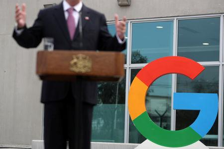 A Google logo is seen as Chile's President Sebastian Pinera delivers a speech, during the announcement of the plans for their data centre expansion in Santiago, Chile, September 12, 2018. REUTERS/Ivan Alvarado